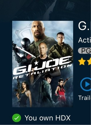 G I Joe retaliation digital HD for iTunes only