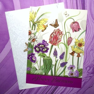 1 Brand New Butterfly Garden Happy  Birthday Greeting Card with Matching Envelope.