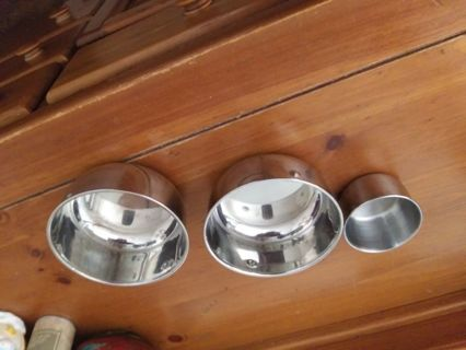 3 Stainless Steel Bird Cups