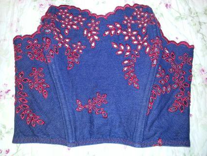 VICTORIA SECRET CORSET SIZE : LARGE DENIM & RED & red stretchy shirt