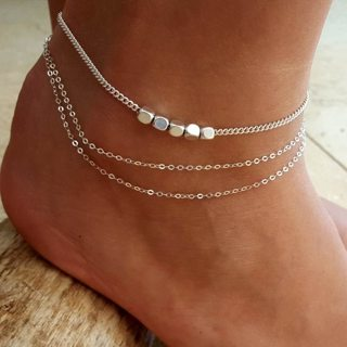 Women Simple Square Beads Geometric Chain Pendant Multilayer Silver Anklet Set Classic Beach Party