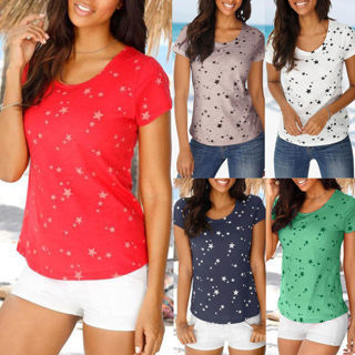 Fashion Women Summer Loose Short Sleeve Star Printed Casual T-Shirt Blouse Tops