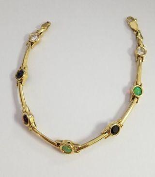"14k Gold Gemstone Bracelet 7 1/4"""
