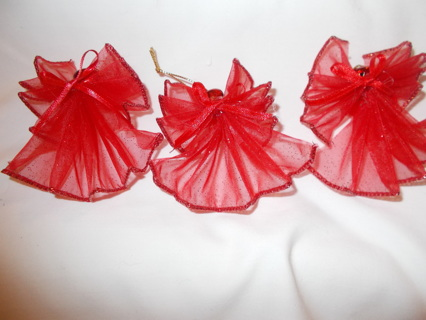 3 Red Angel Ornaments