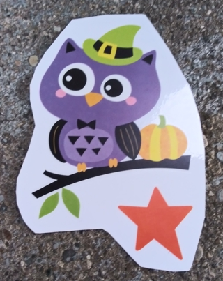 HALLOWEEN OWL JACK-O-LANTERN BAT CANDY WINDOW CLINGS