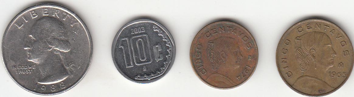 3 Mexico Centavos Coins