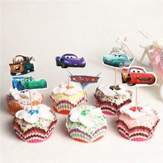 24Pcs Cars Toons Cupcake Toppers Picks Kids Birthday Party Decoration Baby
