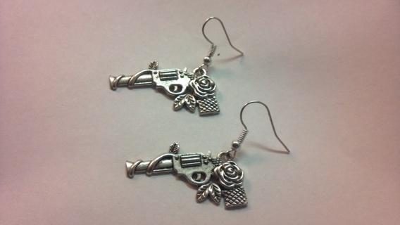 HANDMADE *GUNS & ROSES* DANGLE EARRINGS