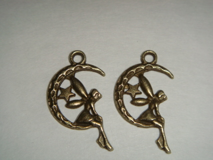 ~ Lot of 2 Lovely Fairy & Moon Charms/Pendants!  Free US Shipping!  ~