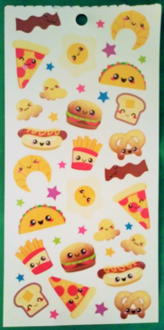 NEW-One sheet of STICKO CUTE FOOD STICKERS