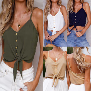 Women Casual Button-up Pencil Sleeveless Crop Solid Blouse Vest Tank Shirt Tops