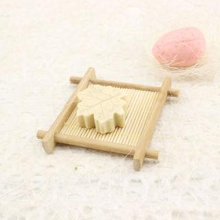 2Pcs Natural Bamboo Wood Bathroom Shower Soap Tray Dish Storage Holder Plate