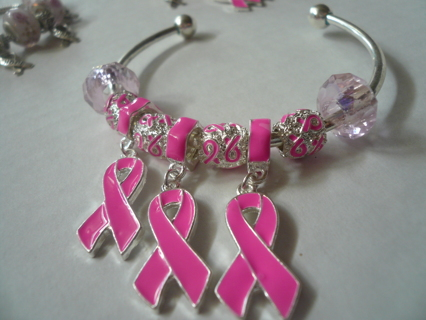 Support Race for the Cure, 3 Day Walk,by Wearing .925 Bracelets w/Murano Glass, Pink ribbon charms,