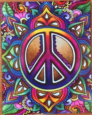 "PSYCHEDELIC PEACE SIGN - 4 x 5"" MAGNET"