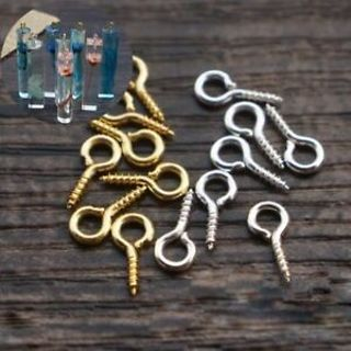 Clasp Charms Threaded Drilled Screw Jewelry Making 100Pcs Eyelets Bails