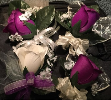 Corsages-4  3 purple and 1 white