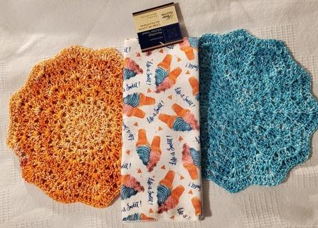 "Crochet 2 - 9"" Dish Cloth/Wash Cloths/ 1 MICROFIBER KITCHEN TOWEL"