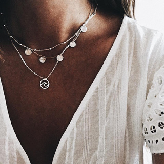 Classic Women Summer Waves Round Beads Chain Pendant Multilayer Necklace Fashion Girls Beach Party