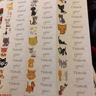 Cat thank you labels