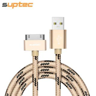 SUPTEC USB Cable for iPhone 4 4s iPad 2 3 iPod 30 Pin Nylon Braided Wire Metal Plug Data Sync USB