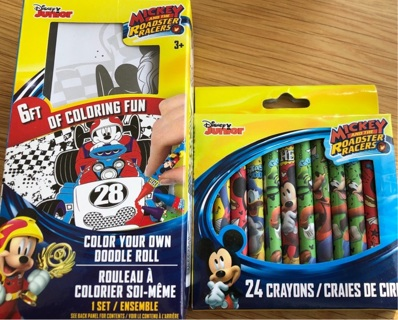 BNIP Disney Jr's, Mickey Mouse ROADSTER:6ft Of Coloring Paper & 24 Crayons!