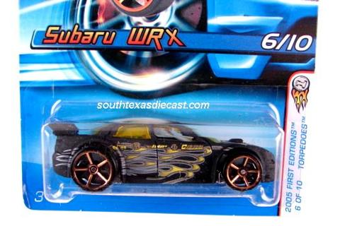 free: hot wheels 2005 # 046 first editions torpedoes 6/10 subaru wrx