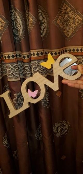 New! wood LOVE decor sign with butterflies