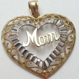 Solid 10k Gold Extra Large MOM Pendant For Necklace