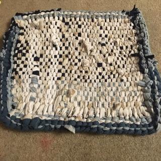 Upcycled potholder mat w crocheted border