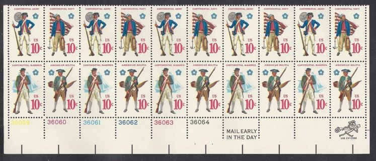 1565- 68 Plate block of 20  - -  10 cent Military Uniforms Soldier Sailor Marine Militiaman