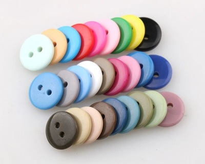 [DIY] 100pcs 2-hole Resin/Plastic Button for Sewing/Handmade Craft - 12.5mm