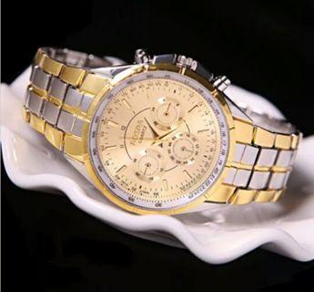 ashion Men's Luxury Date Gold Dial Stainless Steel Analog Quartz Wrist Watch