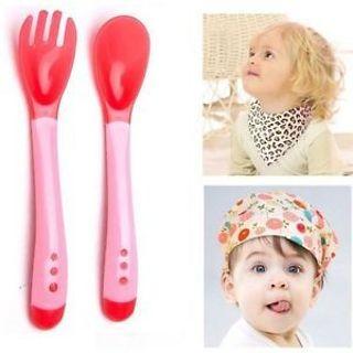 Spoon And Fork Thermal Sensing Fork Silicone Tableware Heat Sensing Spoon