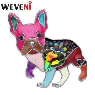 WEVENI Alloy Enamel Rhinestone French Bulldog Pug Dog Brooches Clothes Pin Animal Pet Jewelry For