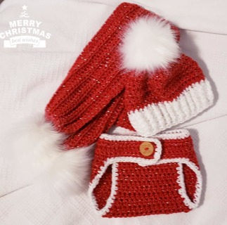 Crochet Newborn UNISEX Photography Outfit Crochet Baby Diaper Cover Hat & Scarf