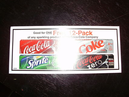 coupon for one FREE 12-pack from COCA COLA COMPANY!!!