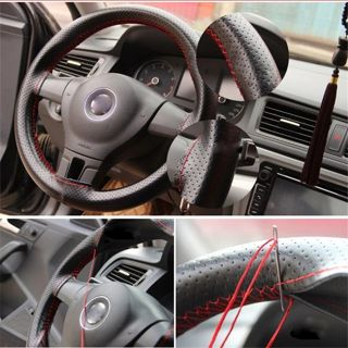 Braid On Steering Wheel Car Steering Wheel Cover With Needles and Thread Artificial leather