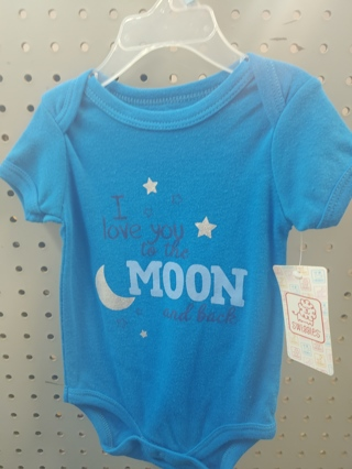 "NWT! Swiggles Baby Boys Onesie ""I LOVE YOU TO THE MOON AND BACK"" Size: 3-6Mths 100% Cotton"