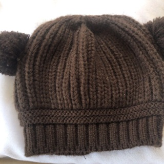 Knitted Children's Hat with PomPoms