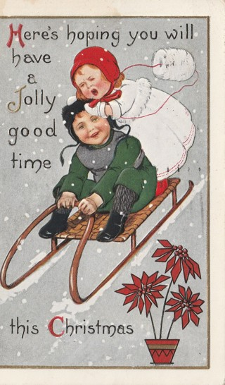 Vintage Used Postcard: Embossed: 1914 Have a Jolly Good Time this Christmas