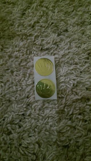 2 Hallmark Gold crown stickers