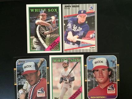 5 WHITE SOX R. HASSEY, J. REUSS, R. MORMON, H. RAINES & R. DODSON TRADING CARDS