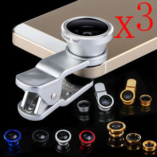 3 in 1 Fish Eye Wide Angle Macro colurs Lens For All Smartphones NEW