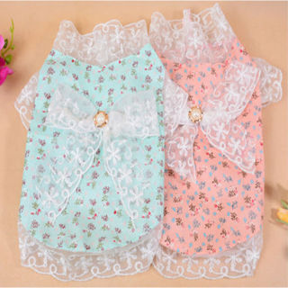 Summer Dog Coat Small Pet Clothes Lace lace Bow Dress Shirt Puppy Cat Apparel