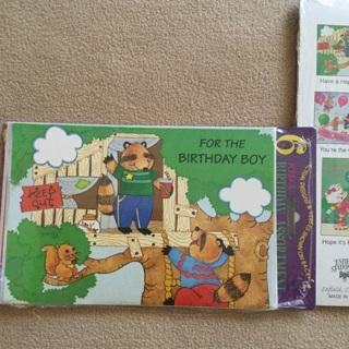 New Sealed Vintage Kid's Birthday Assortment 6 Cards/Envelopes **Rare**