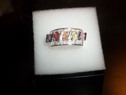 Stunning 925 Silver Multicolor CZ Ring Size 7