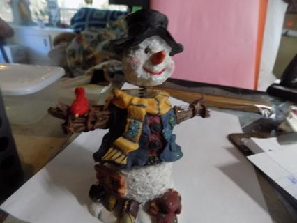 6 1/2 inch tall resin bobblehead snowman