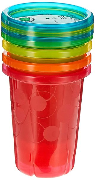 New~ The First Years Take & Toss Spill Proof Straw Cups, 10 Ounce, Pack of 4