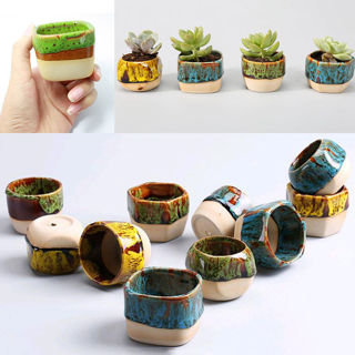 Mini Glazed Ceramic Succulent Planter Flower Bonsai Pot Box Garden Decor Cute