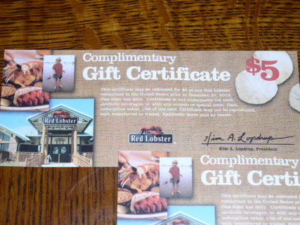 $50 Red Lobster Gift Certificates (10x $5 Each) Exp.Date 12/31